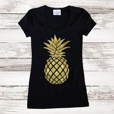 Pineapple Fitted Tee T Shirt Gold Pineapple Top for Women Teens Tumblr Tee Gold Foil Pineapple Gra