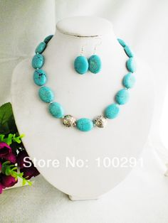 W-093 Turquoise Jewelry Set Necklace + Earring Set  $39.55