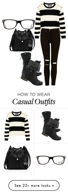 """All Black Casual"" by chap15906248 on Polyvore featuring mode, Boutique Moschino, MICHAEL Michael Kors et Ray-Ban"