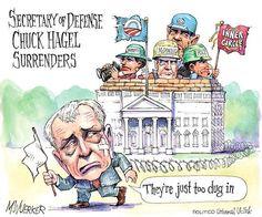 Secretary of Defense Chuck Hagel surrenders. | Cartoon by Matt Wuerker/POLITICO | http://www.politico.com/wuerker/2014/11/november-2014/002089-029872.html #defense #politics