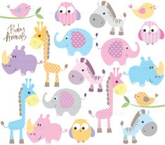 Baby Animal Clipart Digital Clip Art Cute Little Pink Animal Baby Shower Pastel Elephant Giraffe Owl Bird Rhino Zebra Teacher Download 10421. $9.90, via Etsy.