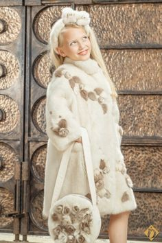 Cream and gold mink fur coat for girls