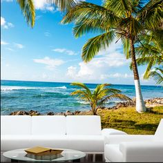 Large Size Sea Side Beach Wallpaper Living Room Sofa Background