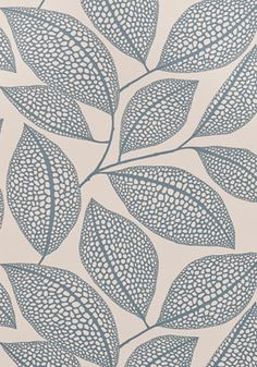 Pebble Leaf wallpaper in Boathouse Blue colourway by Miss Print London