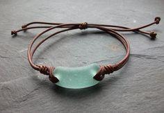 Aqua Sea Glass - Seaglass Leder - Armband Surfer-Beachwear-schottischen Seaglass-Leder-Armband
