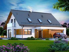 DOM.PL™ - Projekt domu DN KAMINERO Z WYKUSZEM CE - DOM PC1-89 - gotowy koszt budowy Good House, Design Case, Little Houses, Modern Farmhouse, Townhouse, Architecture Design, House Plans, Shed, New Homes