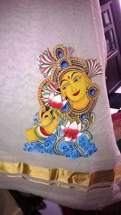Mural Art on Kerala Sari from Nimmy's Creations