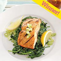Spicy Grilled Salmon with Garlicky Greens from Delish.com #protein #vegetables #fruit #myplate