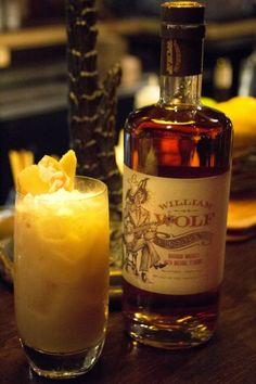William Wolf Pecan Bourbon Milk Shake  1 ½ oz. William Wolf 1 ½ oz. Rum 1 oz. Silk Pure Coconut Milk ½ Coconut Cream 1 oz. Papaya Juice ¼ oz. Banana Puree