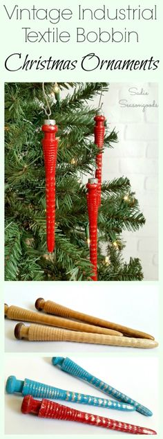 Industrial textile mills were once full of these wooden bobbins and spindles- which are now found at antique stores across the South. They can be repurposed into GORGEOUS Christmas ornaments- like shabby chic, farmhouse icicles- with a little chalk paint and a vintage ornament cap. Such a festive DIY upcycle project just in time for the holidays from #SadieSeasongoods / www.sadieseasongoods.com