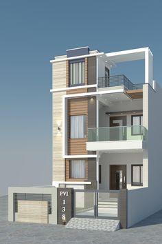 House Main Gates Design, House Front Design, Building Elevation, House Elevation, Front Elevation Designs, Floor Plans, 3d, Architecture, House Styles
