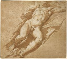 """""""Figure Study,"""" Parmigianino (Francesco Mazzola), 1526 - Pen and brown ink, brown wash, with white gouache heightening. Guy Drawing, Life Drawing, Figure Drawing, Drawing School, Beauty In Art, Male Beauty, Academic Art, Art Of Man, Getty Museum"""