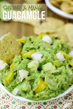 Shrimp and Mango Guacamole - a flavor-packed dip for game day or everyday. #Guacamole #recipe #healthy