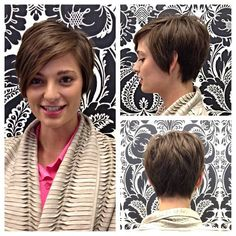 """Andrea cut off a whole lot of hair and gave Ashley an adorable pixie cut with a long fringe. She was so excited about the cut we forgot to take a """"before"""" pic! Long Fringes, Cute Cuts, Pixie Cut, Cut Off, Fine Hair, Cut And Color, Cute Hairstyles, Don't Care, Haircuts"""