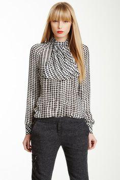 Checkers Silk Blouse on HauteLook
