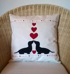 Dachshund  Valentine Applique Heart Complete Cushion by HarryDachshundCrafts on Etsy