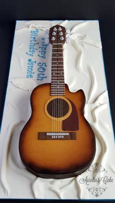 Guitar cake by Aurelia's Cake Birthday Cakes For Men, Guitar Birthday Cakes, 3d Birthday Cake, Women Birthday, Diy Birthday, Mini Tortillas, Acoustic Guitar Cake, Cakepops, Cake For Boyfriend