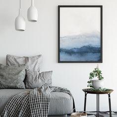 Set of 3 Navy Blue Wall Art Minimalist Print Blue Abstract Sage Green Walls, Blue Grey Walls, Navy Blue Wall Art, Grey Wall Art, Gray, Teal Art, 3 Piece Art, Neutral Art, Watercolor Walls