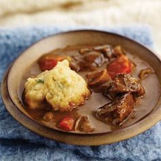 Beef-Ale Stew and Green Onion-Buttermilk Dumplings {recipe}