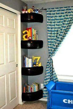 Bradley's room Corner, Bookcase, Shelves, Home Decor, Bedroom Decor, Bed Sets, Industrial Kids Decor, Room Ideas, Infant Room