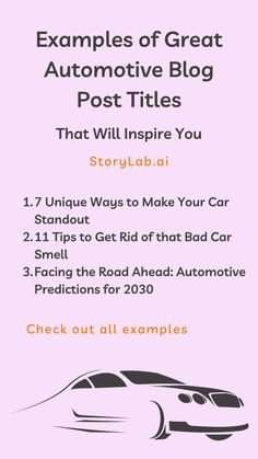 A good Blog Post Title is like a good logo or tagline. It's an essential piece of writing that grabs readers' attention and who needs to figure out if the content is worth their time to read it. We've used our Blog Title Generator to create a nice list of Blog Title Examples for Automotive Websites to inspire you. Check them out below and start creating your own with our free generator. #automotive #automotiveblog #carblog #blogging #blogmarketing #contentmarketing Social Media Digital Marketing, Online Marketing Tools, Marketing Technology, Content Marketing Strategy, Social Media Content, Social Marketing, Pinterest Marketing, Title Generator, Blog Title