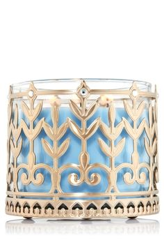 Peacock Pattern 3-Wick Candle Sleeve - Cast a lavish glow with a gorgeous golden accent for your favorite 3-Wick Candle!