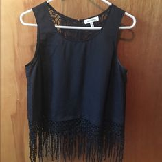 Monteau Tank Top Black, lace, fitted, size Large, tank top Monteau Tops Tank Tops