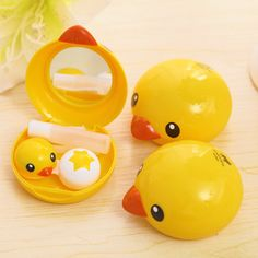 Novelty Kawaii Yellow Duck Contact Lens Case Eyewear Case Spectacle Box Retail