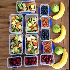 Common question: How many pieces of fruit do I eat a day? Usually about 3 pieces and lots of veges (this is not one days amount of food ) this is an old photo I took of meal prepping some snacks for work..There is brown rice under the chicken/ vege as I find Having this during the day gives me more energy!  I don't always have chicken and love turkey/fish/salmon as well.