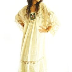 Romantic Mexican Natural Maxi Dress Vintage Excellent Condition Hippie... ($280) ❤ liked on Polyvore featuring bridal gowns & separates, dresses, light yellow y weddings