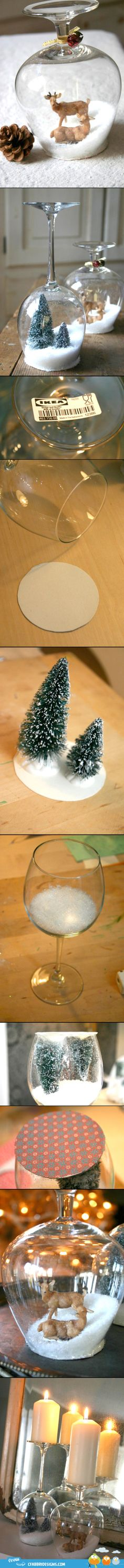wine glasses/christmass decor/DIY