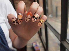 Famous Fashion Designers Nail Art Alber Elbaz, Giorgio Armani,Vivienne Westwood, Karl Lagerfeld, Donatella Versace