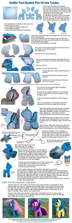 Beginner Pony Plushie Tutorial. OMG... Kaiya would LOVE this! She already has Pinkie Pie that I bought from Target and won't let go of it... Now I can make them all!!!!