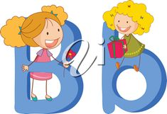 iCLIPART - Clip Art Illustration of Children on the Letters B and b