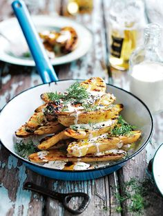 Char-grilled potato salad with creamy mustard dressing