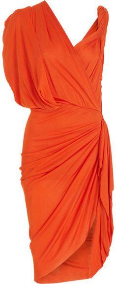 LANVIN ORANGE CRUSH Ruched Wrap Dress   dressmesweetiedarling