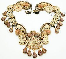 Michal Negrin Victorian Style Crystals Lace Necklace