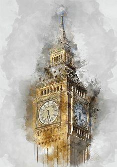 London Painting - London Famous Places - Big Ben - By Diana Van by Diana Van Architecture Drawing Art, Watercolor Architecture, Watercolor Landscape Paintings, Watercolor Paintings, Famous Architecture, Big Ben Tattoo, London Famous Places, London Painting, Urban Sketching