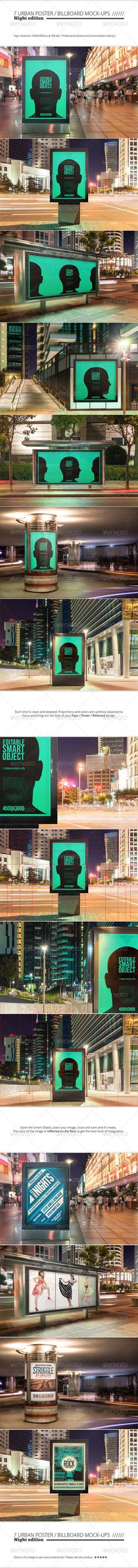 Urban Poster / Billboard Mock-ups - Night Edition --- Save time and put the spark on your flyer / poster / billboard design with this night urban mock-ups set. Professional photos and photorealistic editing. Proportions and colors of the elements of each shot were balanced to focus on your design and bring out the best of it. It's very easy to use, open the Smart Object and replace with any image.