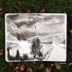 Drawing on the road | Moleskine sketchbook | www.Fenne.be