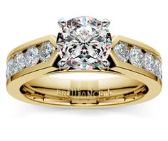 Channel Diamond Engagement Ring in Yellow Gold (1 ctw)   Thumb 01