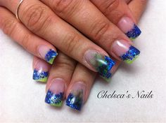 Blue and Green Sparkles with Feathers - Nail Art Gallery by NAILS Magazine