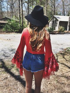 Bell sleeves embroidery fringe sleeves red black floppy hat high waisted denim shorts thebohobarbie.com