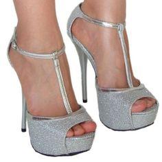 Amazon.com: Women's Qupid Silver Glitter Peep Toe T-Strap Platform Heels Sandal Pump (Dazzling15x): Shoes