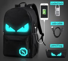 Luminous School Backpack with USB charging port