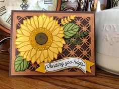 Sunflower Cards, Floral Card, Thanksgiving Cards, Autumn, Fall, Sunflowers, Stampin Up, Card Ideas, Clever