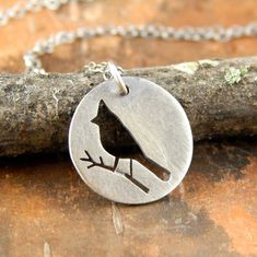 Cardinal necklace silver bird necklace hand-cut by erinbowe