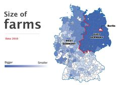 Germany divided - size farms