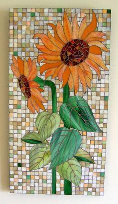 Orange Sunflower Glass Mosaic by GlassArtsStudio on Etsy, $300.00 Love this artists work!