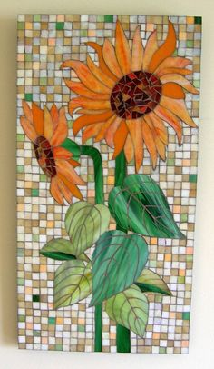 Orange Sunflower Glass Mosaic by GlassArtsStudio on Etsy, $300.00 Love this artists work!